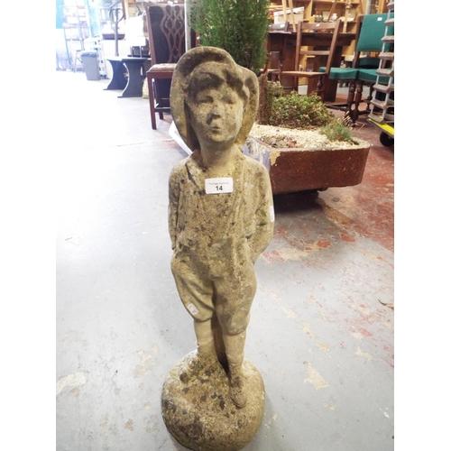 14 - Garden statue - Urchin - stands 64cm...