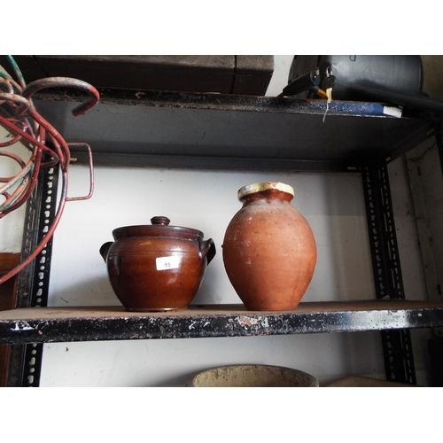 15 - Earthenware jug and lidded pot A/F...