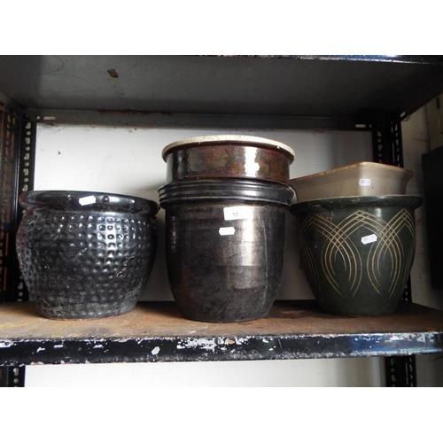 17 - Five assorted glazed planters...
