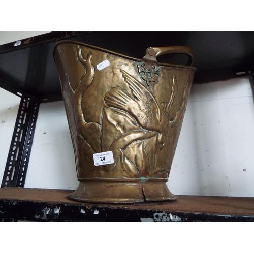 24 - Brass Coal Scuttle A/F...