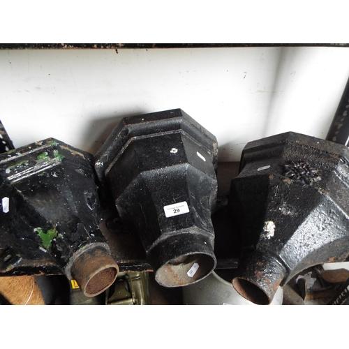 29 - Three cast iron rainwater hoppers...