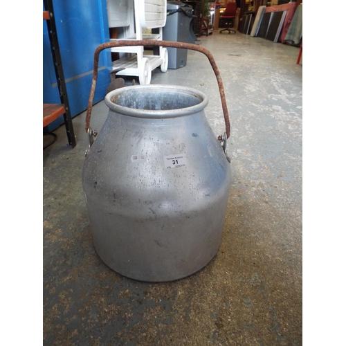 31 - Aluminium dairy bucket...
