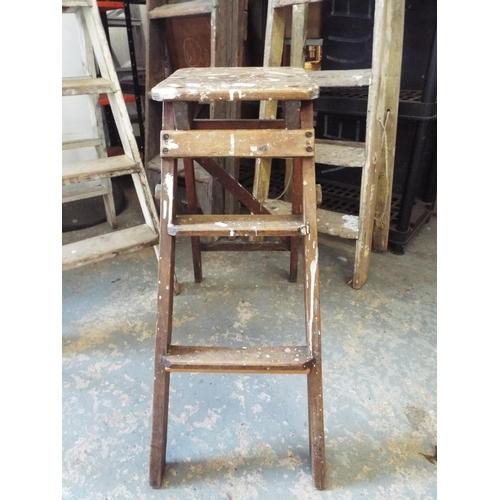 35 - Small vintage wooden step ladder...