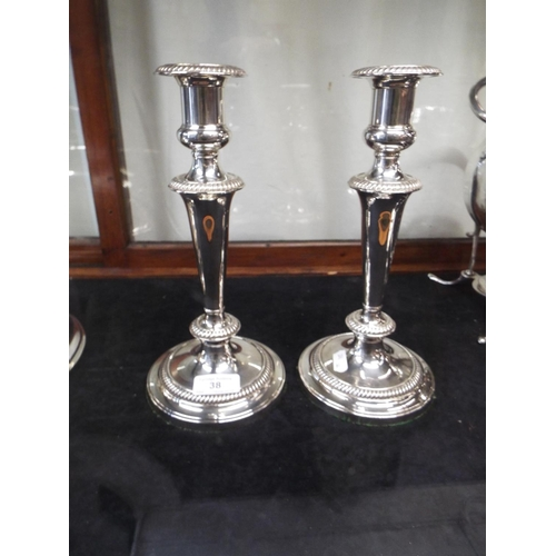 38 - Pair of Large Mappin & Webb Silver Plated Candlesticks 10½