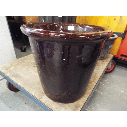 4 - Very large brown glazed planter 36cm high...