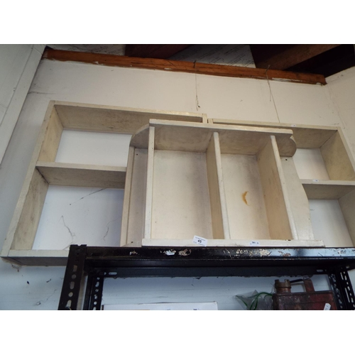 45 - Three Small Wooden Painted Bookshelves A/F...