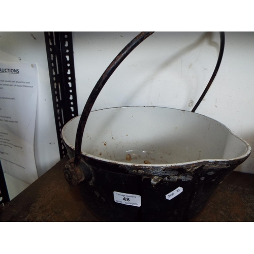 48 - Cast Iron Pouring Cauldron - Enamelled Inside A/F...