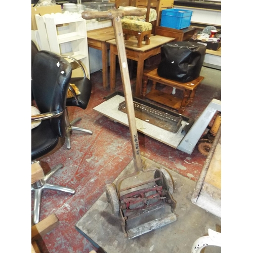 24A - Old Wooden Handled Push Along Mower A/F...
