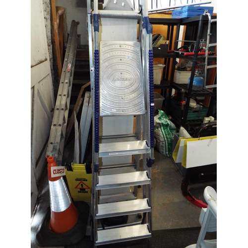 21 - Substantial Aluminium Stepladder with Handrails...