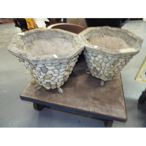 3 - Two Stone Planters Pots...