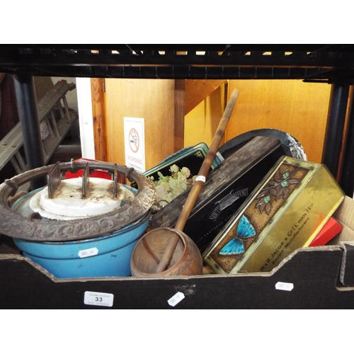 33 - Box of Miscellaneous Items Inc Wooden Water Ladle and Old Paraffin Burner...
