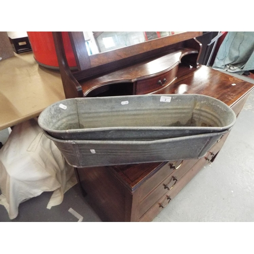 2 - Pair of Galvanised Trough Planters (each 60cm long}...