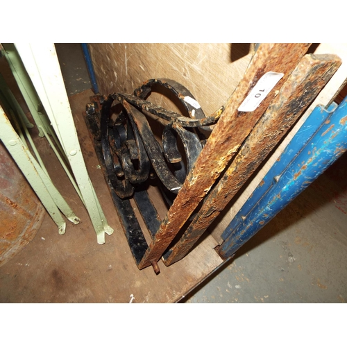 10 - Pair of Sustantial Wrought Iron Brackets...