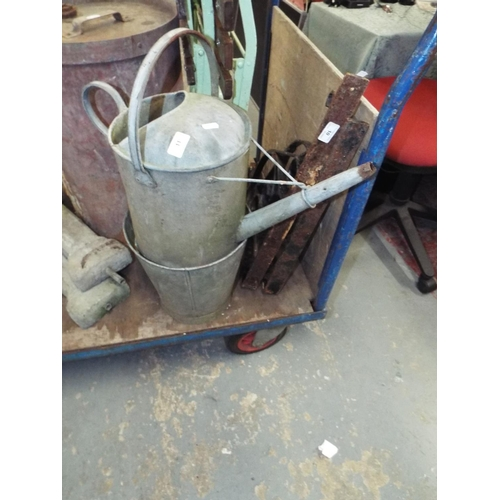 11 - Galvanised Watering Can + Bucket A/F...