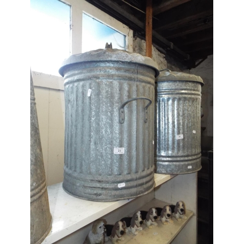 23 - Galvanised Dustbin with Lid...