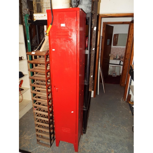 35 - Red Painted Steel Locker Cupboard 34 x 182 x 31 cm...