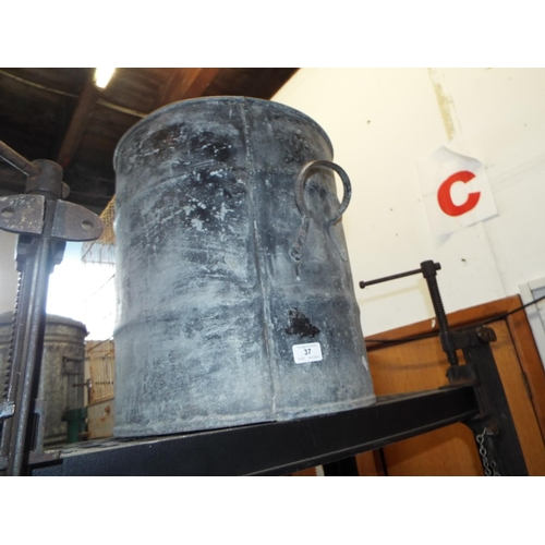 37 - Substantial Two Handled Galvanised Bin...