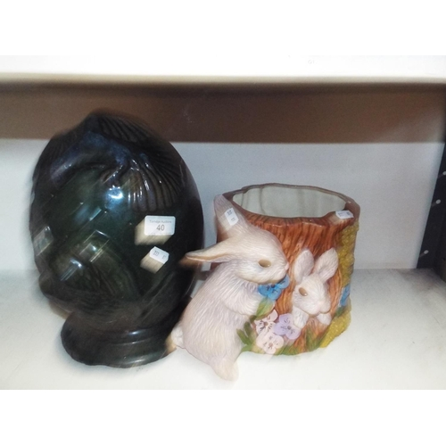 40 - Ceramic Plant Holder and Garden Ornament Decorated with Bunnies and Birds Respectively...