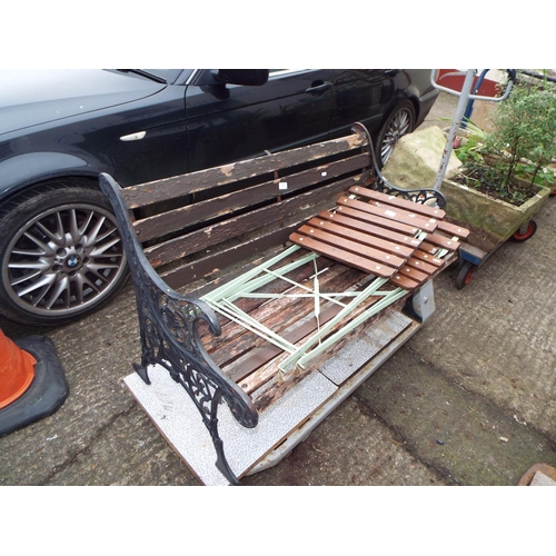 9 - Pair of Metal Folding Garden Chairs with Slatted Wood Seats...