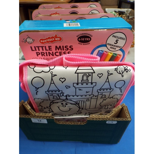 12 - Five Little Miss Princess Scribble Me Messenger Bags & Pen Kits (UT8)
