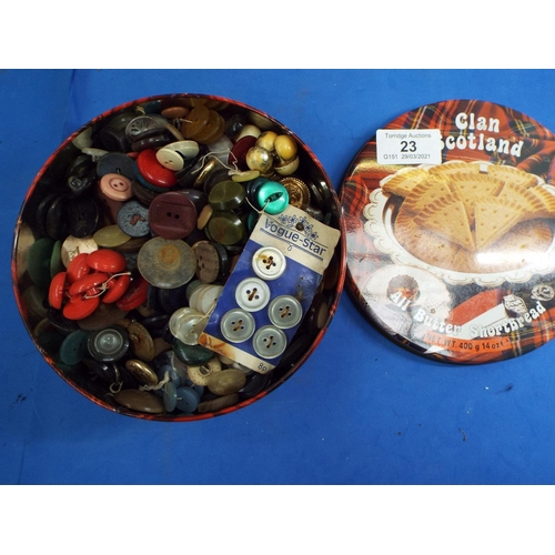 23 - Vintage Shortcake Tin Full of Vintage Buttons (C21)