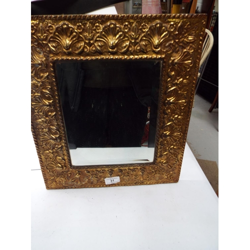 31 - Gold Coloured Framed Rectangular Bevel Edged Wall Mirror 40 x 35cm (CW)