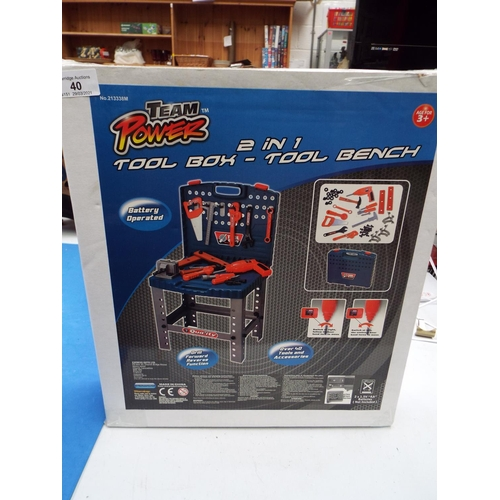 40 - Children's Team Power 2 in 1 Tool Box- Tool Bench  (T8)
