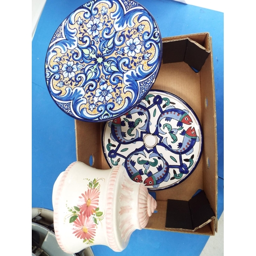 48 - Two Hand Painted Plates and a Wall Pocket Planter (T8)
