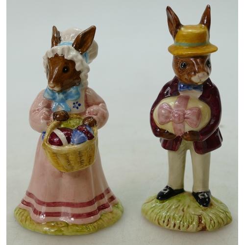 2 - Royal Doulton rare pair Bunnykins figures Mr & Mrs Bunnykins at the Easter Parade DB51 and DB52, lim...