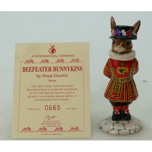 7 - Royal Doulton Bunnykins figure Beefeater DB163, limited edition, boxed with certificate...