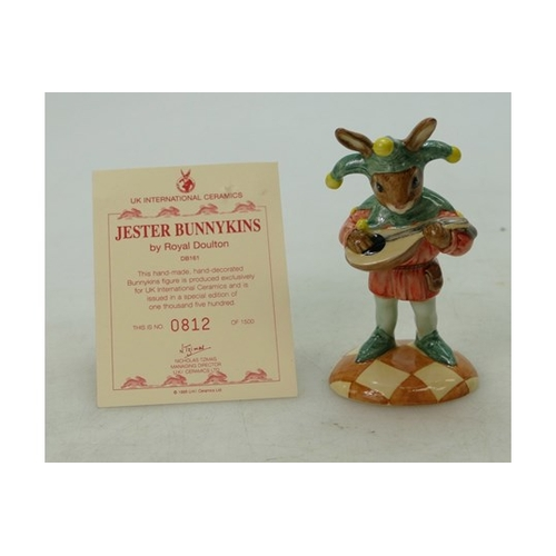 9 - Royal Doulton Bunnykins figure Jester DB161, limited edition boxed with certificate...