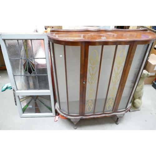 28 - Leaded glass art deco window & oak display cabinet(2)...