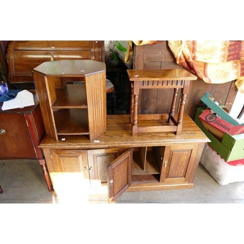 31 - Low oak 4 door storage unit , oak coffee table & smaller similar item (3)...