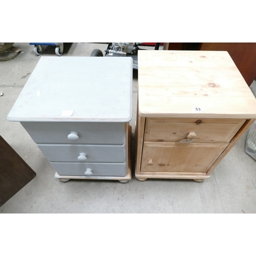 53 - A pair of pine bed side cabinets (2)...