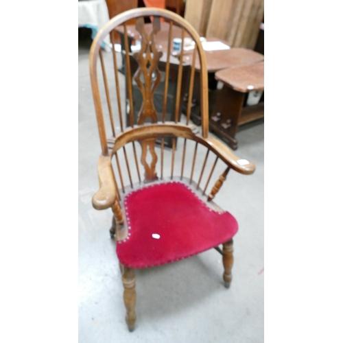54 - Elm Windsor backed arm chair...