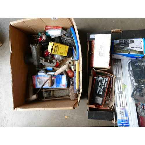 45 - A mixed collection of vintage tools and elections to include, Kismet Junior foot pump, meat grinder,...