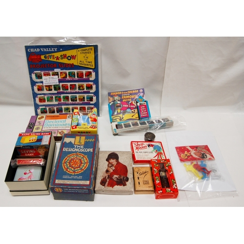 107 - A mixed collection of Children's themed items including - Chad Valley Give A Show, Projector Slides ...