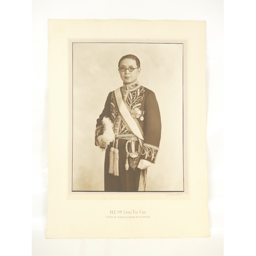 14 - His Excellency Mr Quo Tai Chi - Chinese Ambassador in London 1930's - large studio portrait bearing ...