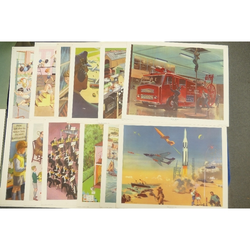 147 - Boxed series of  Macmillan & Co. Educational prints entitle Boyce : Today and Tomorrow pictures - pl...