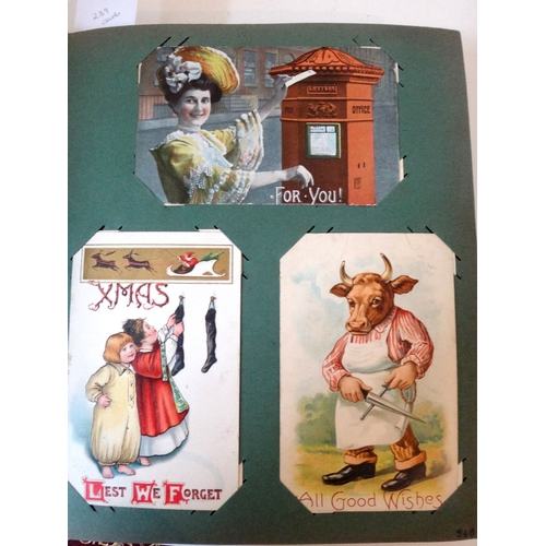 151 - Album of 240 specialist collector postcards - includes artist drawn unusual, postal related, greetin...