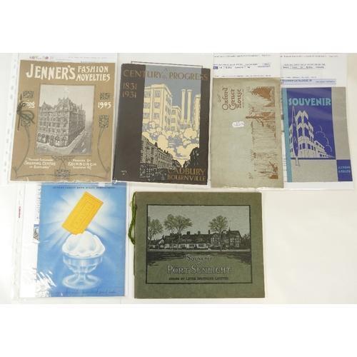 164 - SIX BOOKLETS - including Lyons Oxford Cornerhouse 1928 booklet, Cadburys Bournville a Century of Pro...