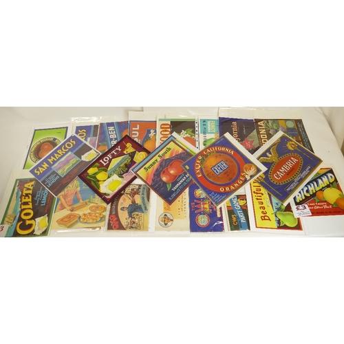 183 - Twenty large size mid century Fruit packaging labels together with five Similar promotional shop sig...