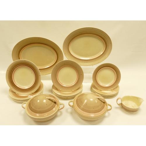 198 - Susie Cooper Pattern 475 dinner service including serving platters, tureens, plates etc. (some damag...
