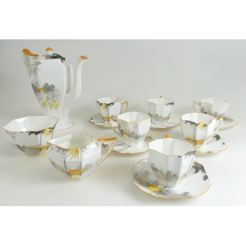 204 - Shelley Sunrise & tall trees 11678 patterned 15 piece teaset....