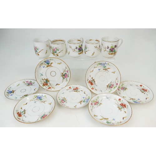 215 - RUSSIAN Gardner porcelain - group of five cups (3 a/f) and seven saucers (2 a/f).  Some wear to sauc...