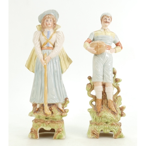 241 - Two German bisque china sporting figures, circa 1900-1915, a rugby player (base broken and reglued w...