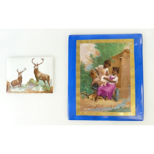 248 - French porcelain plaque / panel depicting two young girls with a child in a rural setting, together ...