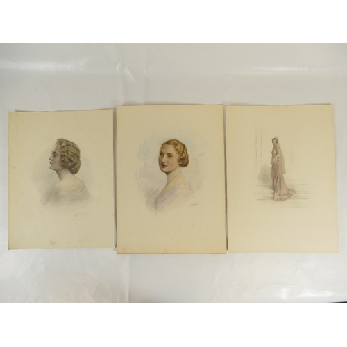 35 - Three HAND COLOURED LAFAYETTE PHOTOGRAPHS of ladies,  39 x 29cm with no discernible margin / mount....