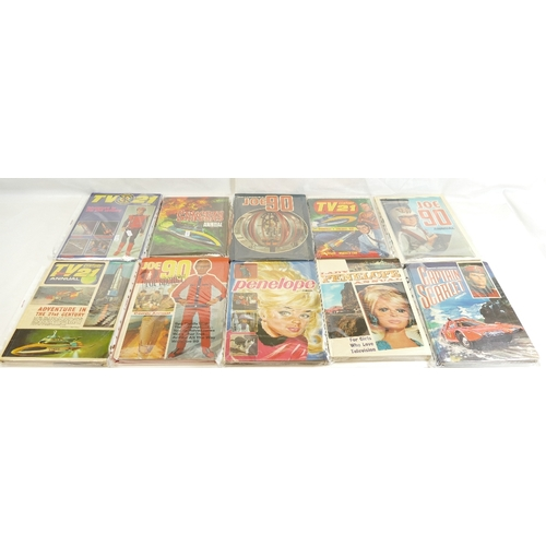 43 - Sixteen annuals including - Thunderbirds x 3, Lady Penelope x 2, TV21 x 5, Captain Scarlet, Penelope...