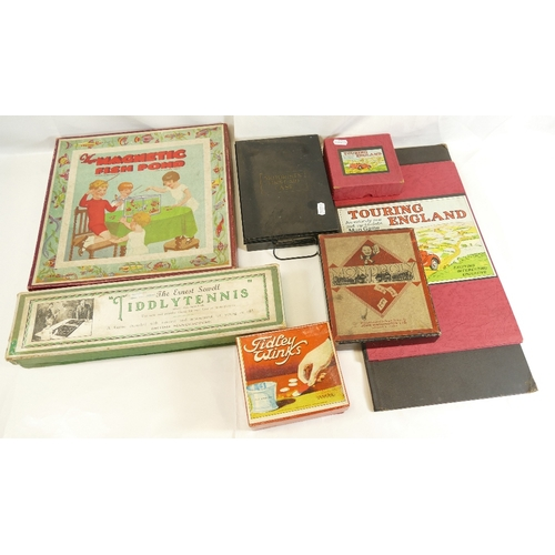 60 - BOARDGAMES AND MISC ITEMS. Including 1950's Monopoly set with board, Touring England Map game and bo...